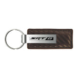 Dodge SRT-8 Keychain & Keyring - Brown Carbon Fiber Texture Leather