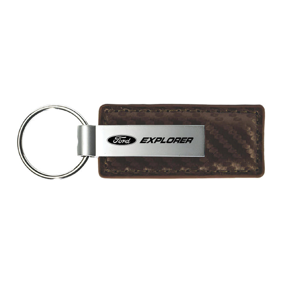 Ford Explorer Keychain & Keyring - Brown Carbon Fiber Texture Leather