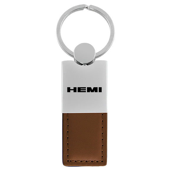 Dodge Hemi Keychain & Keyring - Duo Premium Brown Leather