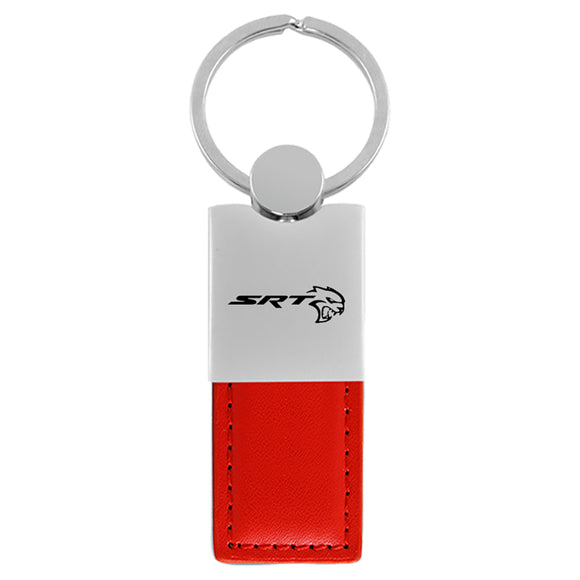 Dodge SRTH Hellcat Keychain & Keyring - Duo Premium Red Leather