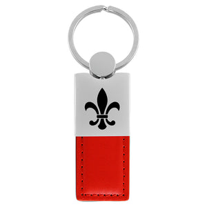 Fleur-De-Lis Keychain & Keyring - Duo Premium Red Leather