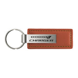 Dodge Charger Keychain & Keyring - Brown Premium Leather