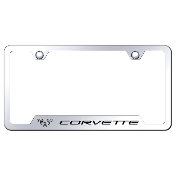 Chevrolet Corvette C5 License Plate Frame - Laser Etched Chrome Cut-Out Frame - Stainless Steel