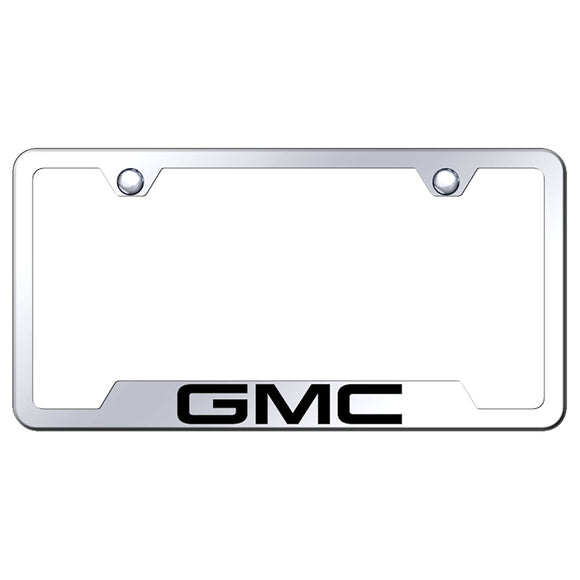 GMC License Plate Frame - Laser Etched Cut-Out Frame - Stainless Steel