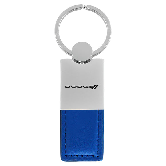 Dodge Stripe Keychain & Keyring - Duo Premium Blue Leather