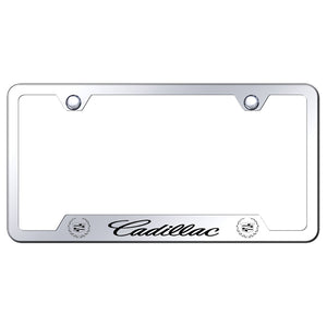 Cadillac License Plate Frame - Laser Etched Cut-Out Frame - Stainless Steel