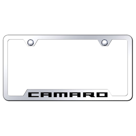 Chevy Camaro License Plate Frame - Laser Etched Cut-Out Frame - Stainless Steel