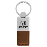 Honda Fit Keychain & Keyring - Duo Premium Brown Leather