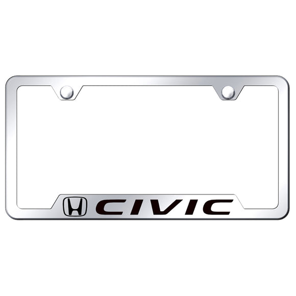 Honda Civic License Plate Frame - Laser Etched Cut-Out Frame - Stainless Steel
