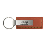 Jeep Cherokee Keychain & Keyring - Brown Premium Leather