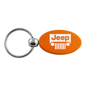 Jeep Grill Keychain & Keyring - Orange Oval