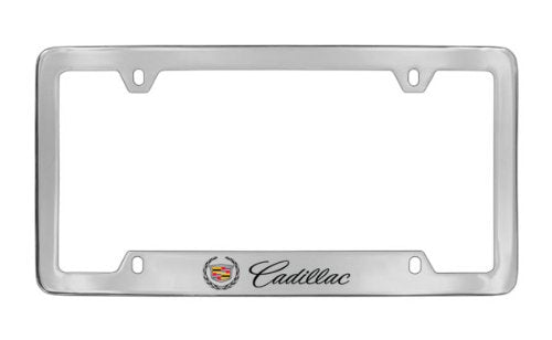 Cadillac Workmark & Logo Chrome Plated Metal Bottom Engraved License Plate Frame
