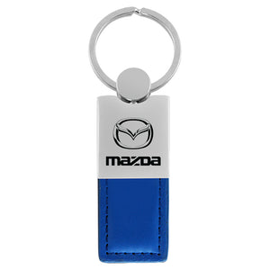 Mazda Keychain & Keyring - Duo Premium Blue Leather