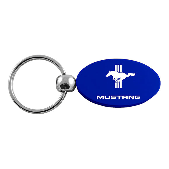 Ford Mustang Tri-Bar Keychain & Keyring - Blue Oval