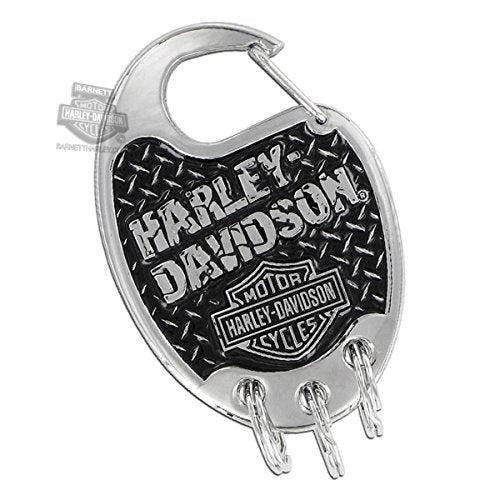 Harley-Davidson Carabiner Keychain w/Bar & Shield & Broken H-D Wordmark On Da...