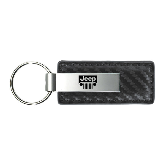 Jeep Grill Keychain & Keyring - Gun Metal Carbon Fiber Texture Leather