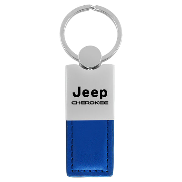 Jeep Cherokee Keychain & Keyring - Duo Premium Blue Leather