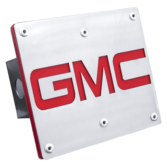 GMC Red Logo Brushed Steel Tow Hitch Cover
