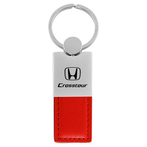 Honda Crosstour Keychain & Keyring - Duo Premium Red Leather