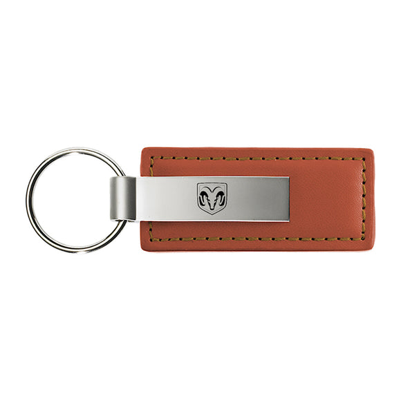 Dodge RAM Head Keychain & Keyring - Brown Premium Leather