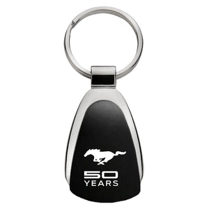 Ford Mustang 50 Years Anniversary Keychain & Keyring - Black Teardrop