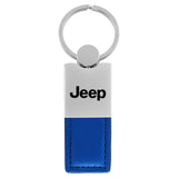 Jeep Keychain & Keyring - Duo Premium Blue Leather