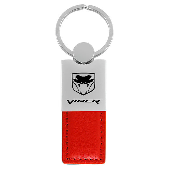 Dodge Viper Keychain & Keyring - Duo Premium Red Leather