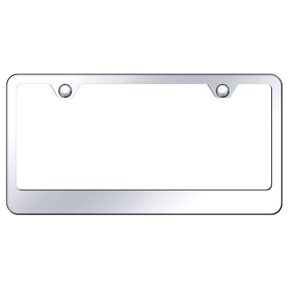 Blank License Plate Frame - 2 Hole Wide Bottom Frame - Mirror Polished Stainless Steel