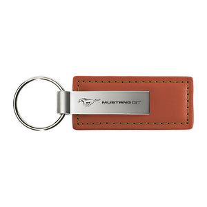 Ford Mustang GT Keychain & Keyring - Brown Premium Leather