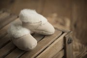 pair of Natures Fleece silken wool cream booties