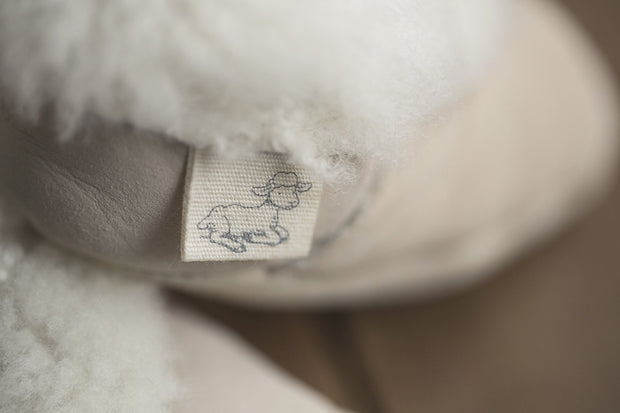 close up of Natures Fleece silken wool cream booties