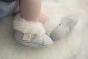 close up of Natures Fleece silken wool rug and booties combo