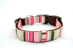 Printed webbing and soft Neoprene Collar PINK STRIPES