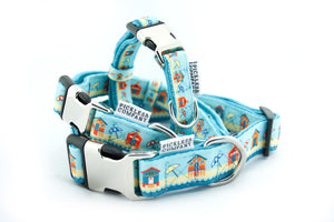 Printed Webbing and soft Neoprene Dog Collar BEACH HUTS