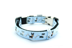 Printed Webbing and soft Neoprene Dog Collar DOGS BLUE