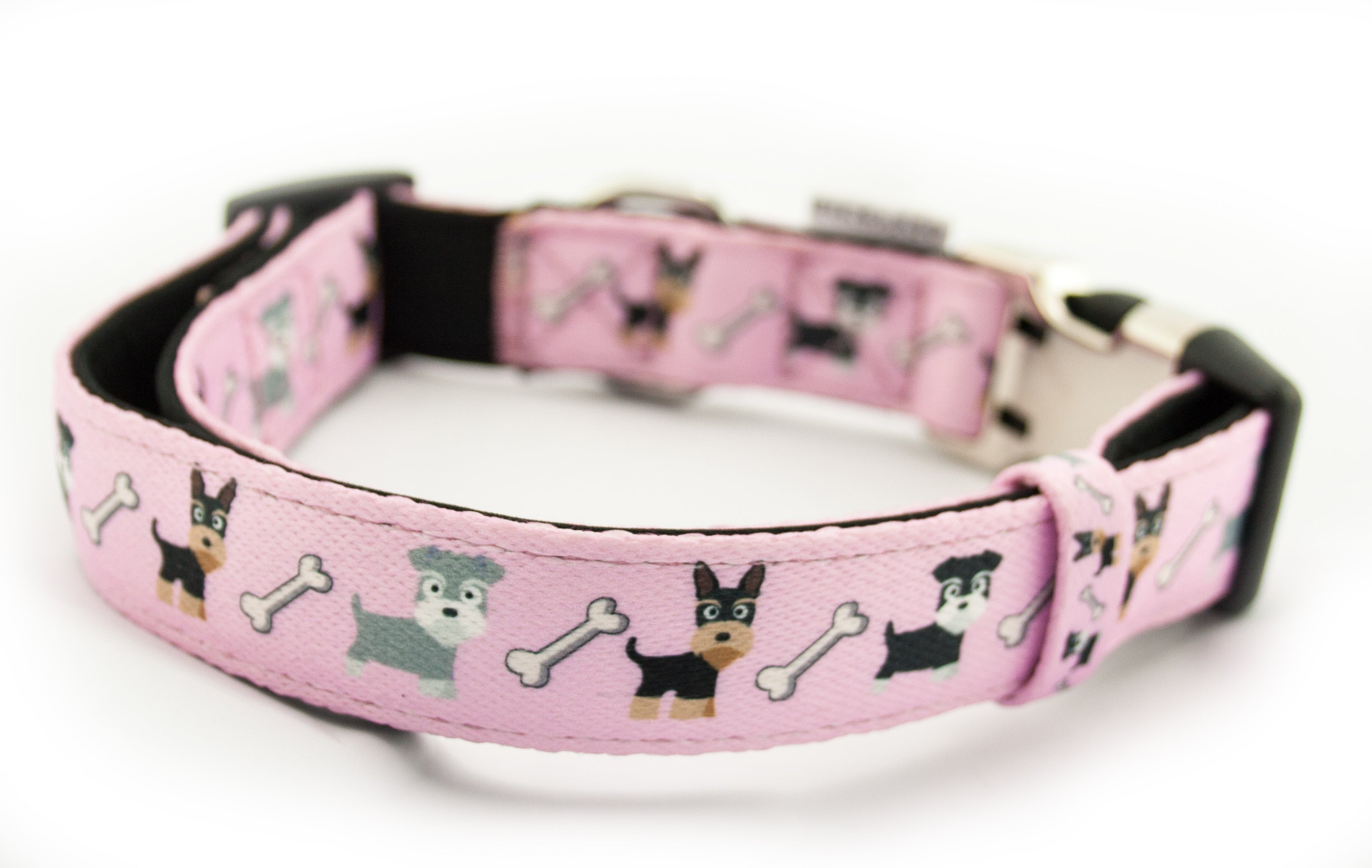 Printed Webbing and soft Neoprene Dog Collar  DOGS PINK