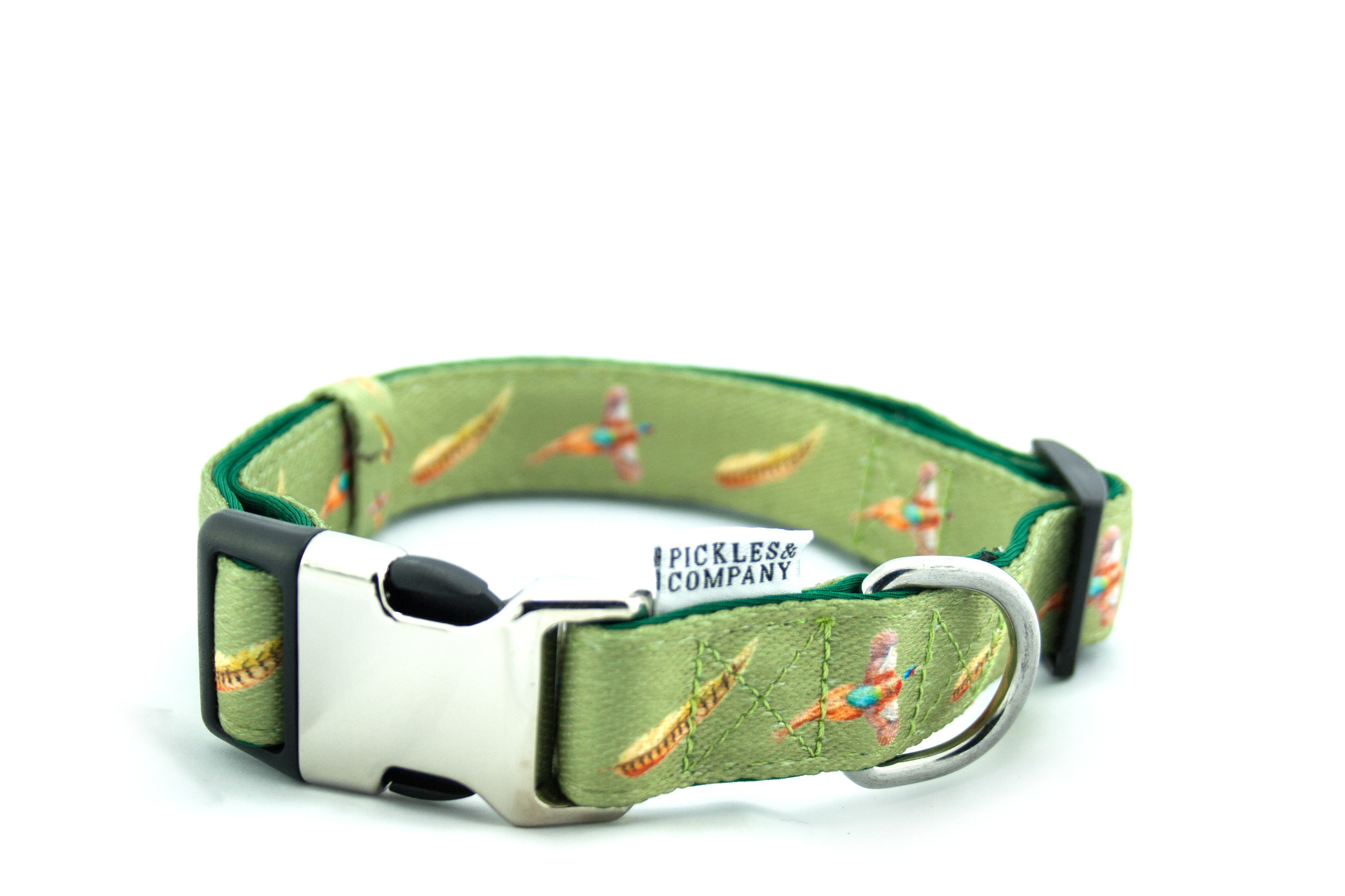 Printed Webbing and soft Neoprene Dog Collar PHEASANT
