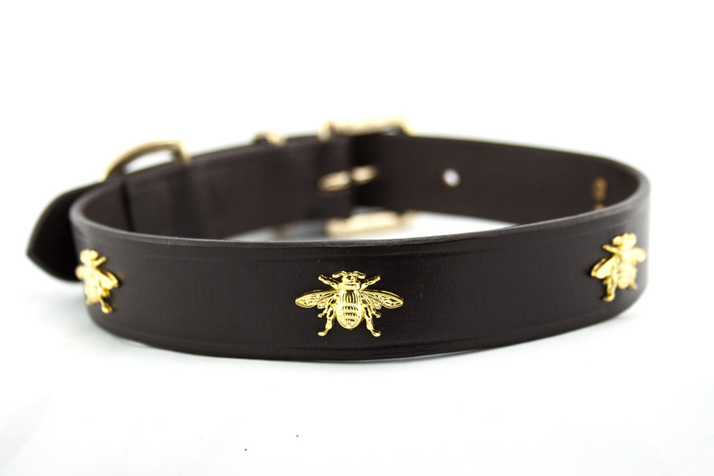 leather dog collar Bee
