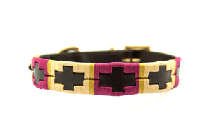 Leather 'GAUCHO-POLO' Style Dog Collar RASPBERRY & OCHRE