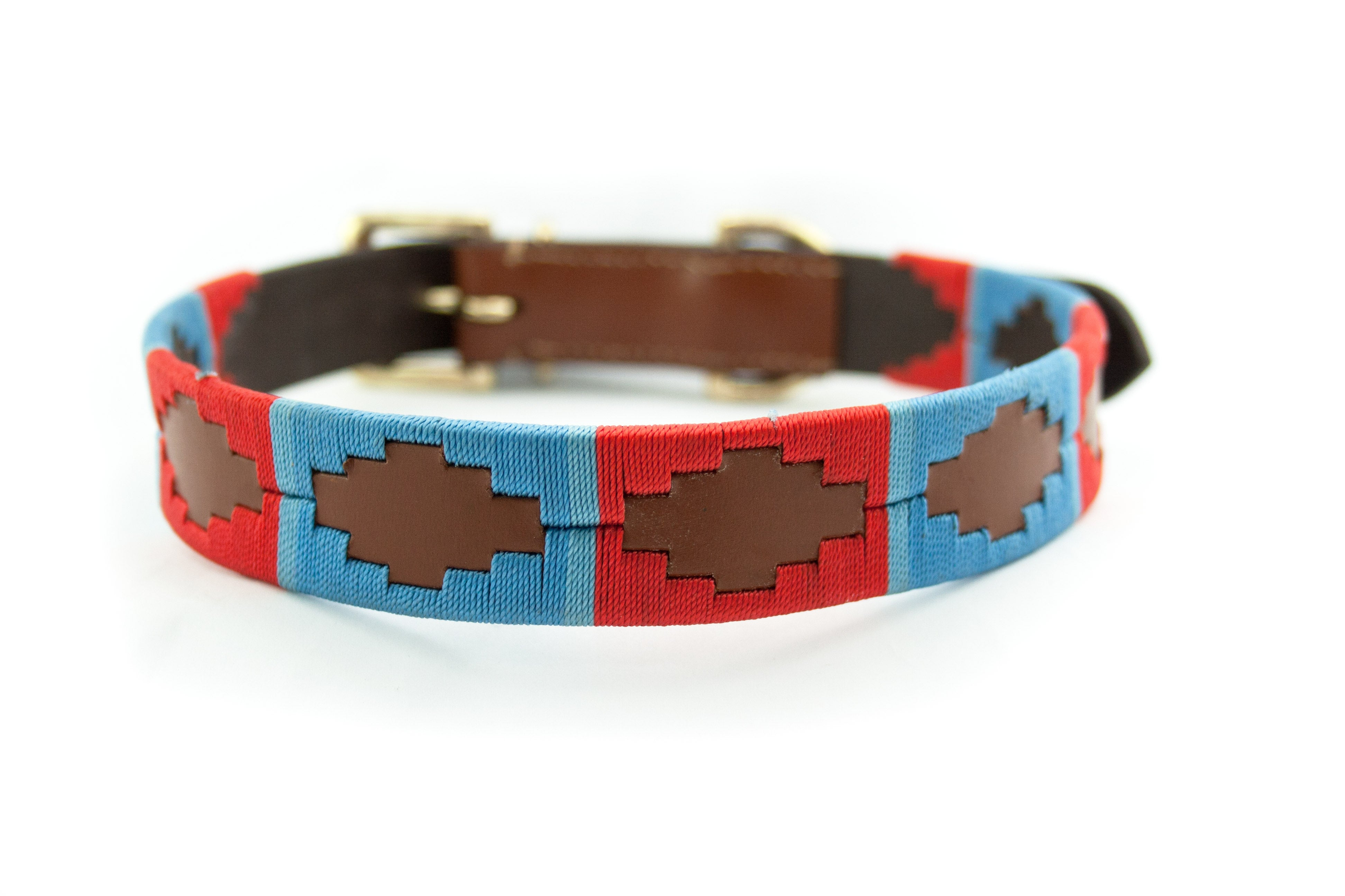 Leather 'GAUCHO-POLO' Style Dog Collar RED BLUE