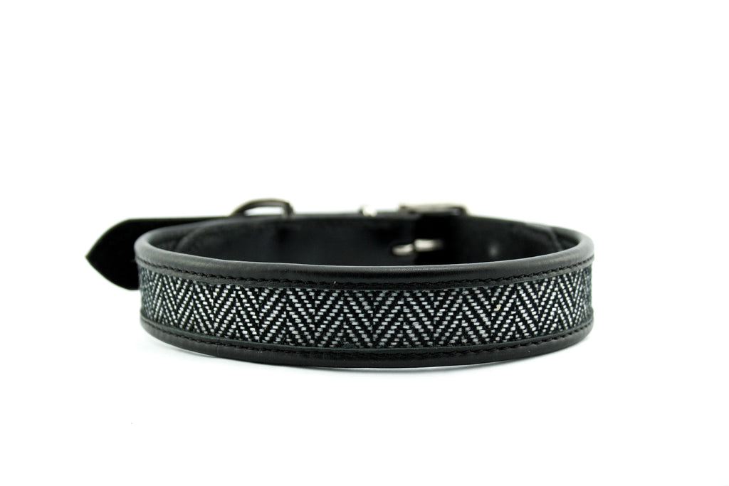 herringbone leather dog collar black
