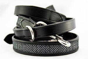 'The Burford' Herringbone & Leather Dog Lead Black& White