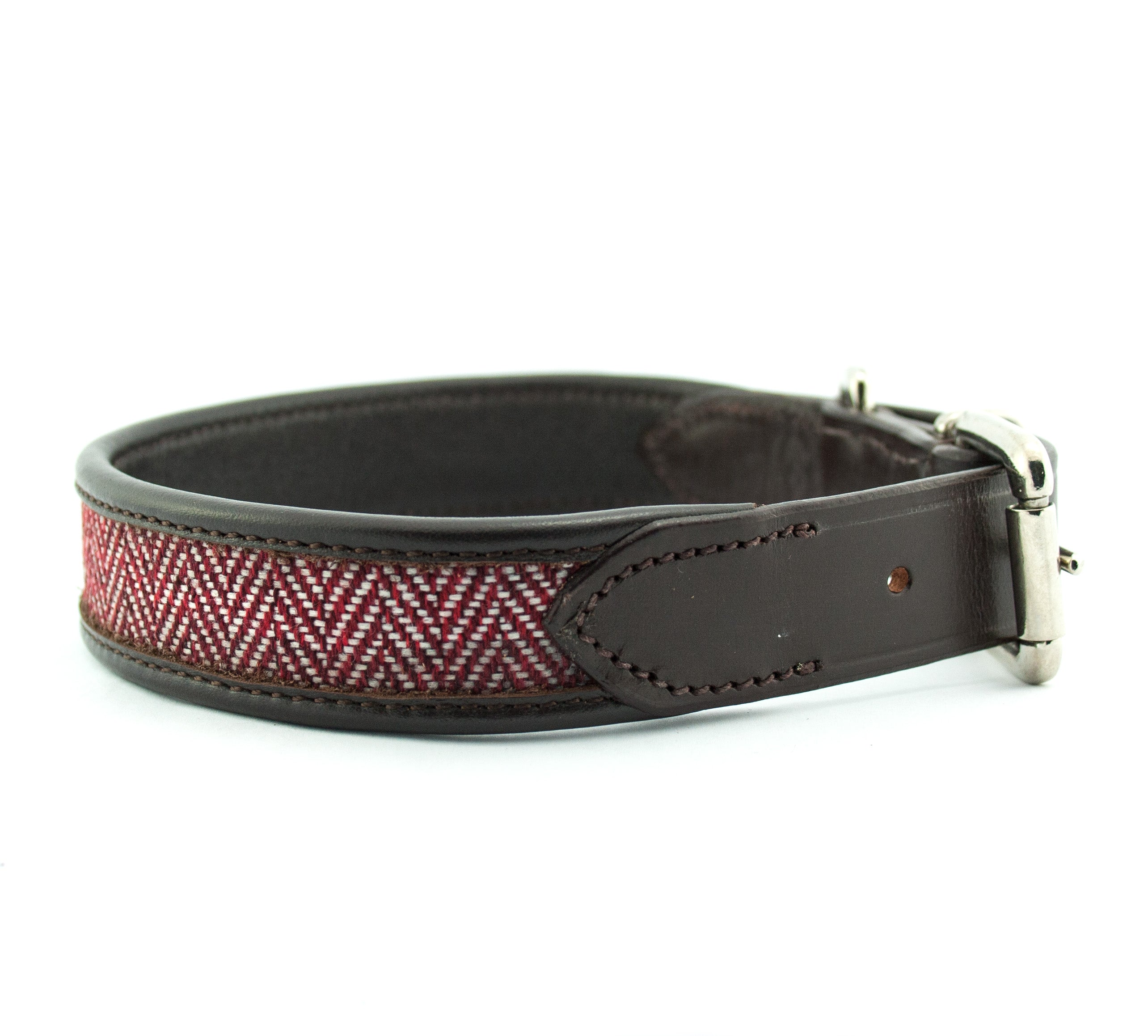 herringbone leather dog collar red brown