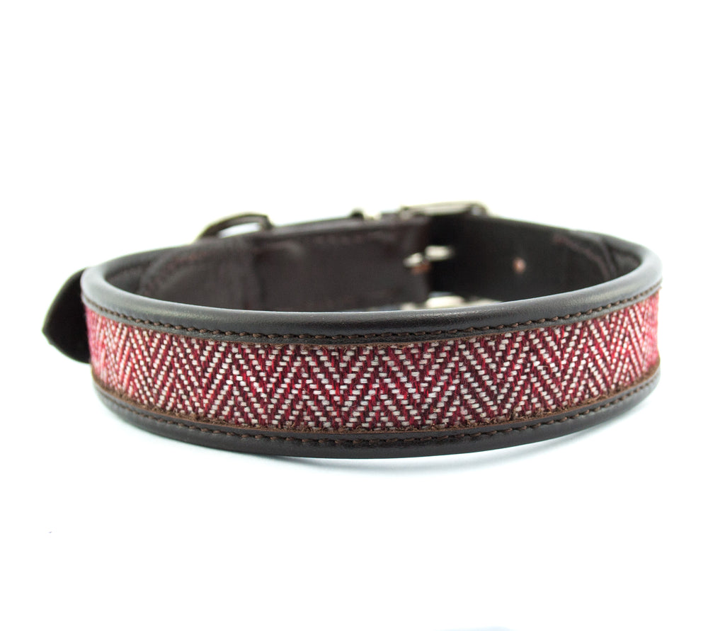 herringbone leather dog collar red