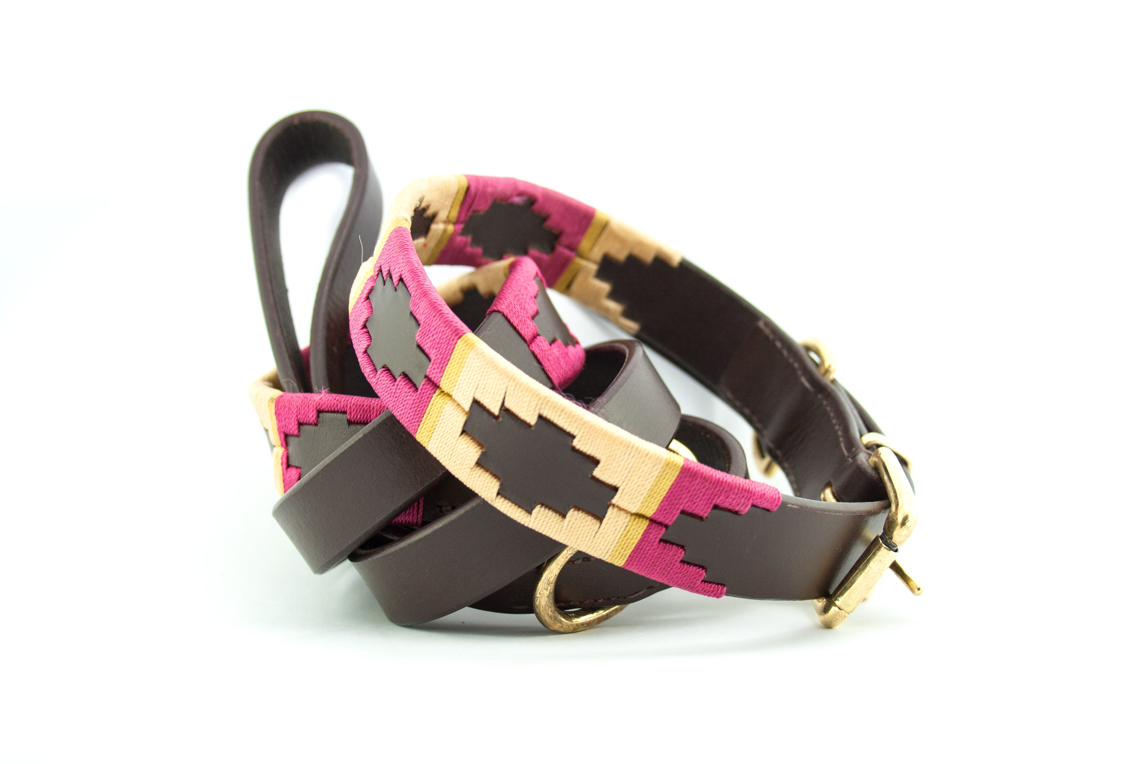 Leather and embroidery 'GAUCHO POLO' Style Dog Lead RASPBERRY OCHRE