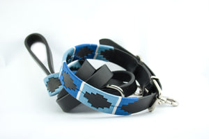 Leather and embroidery 'GAUCHO POLO' Style Dog Lead BLUES