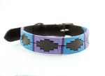 Leather 'GAUCHO-POLO' Style Dog Collar TURQUOISE & PURPLE
