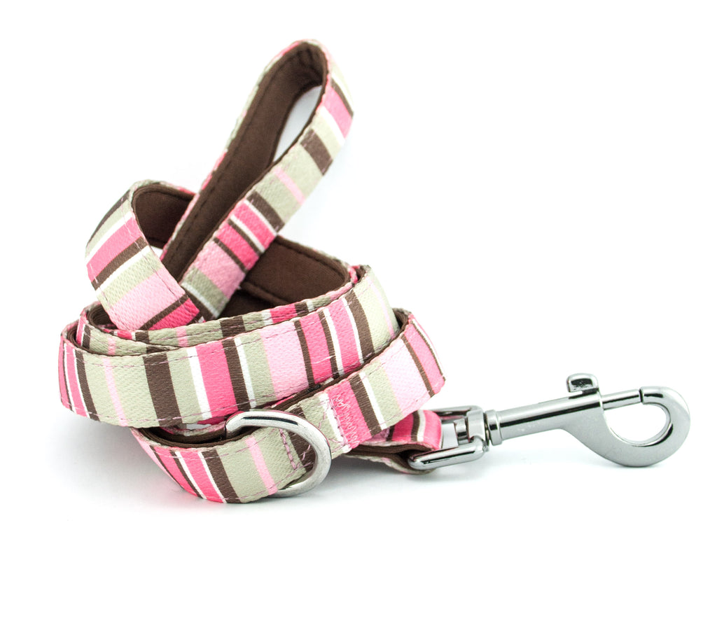 Printed Webbing and soft Neoprene Dog Lead PINK STRIPES
