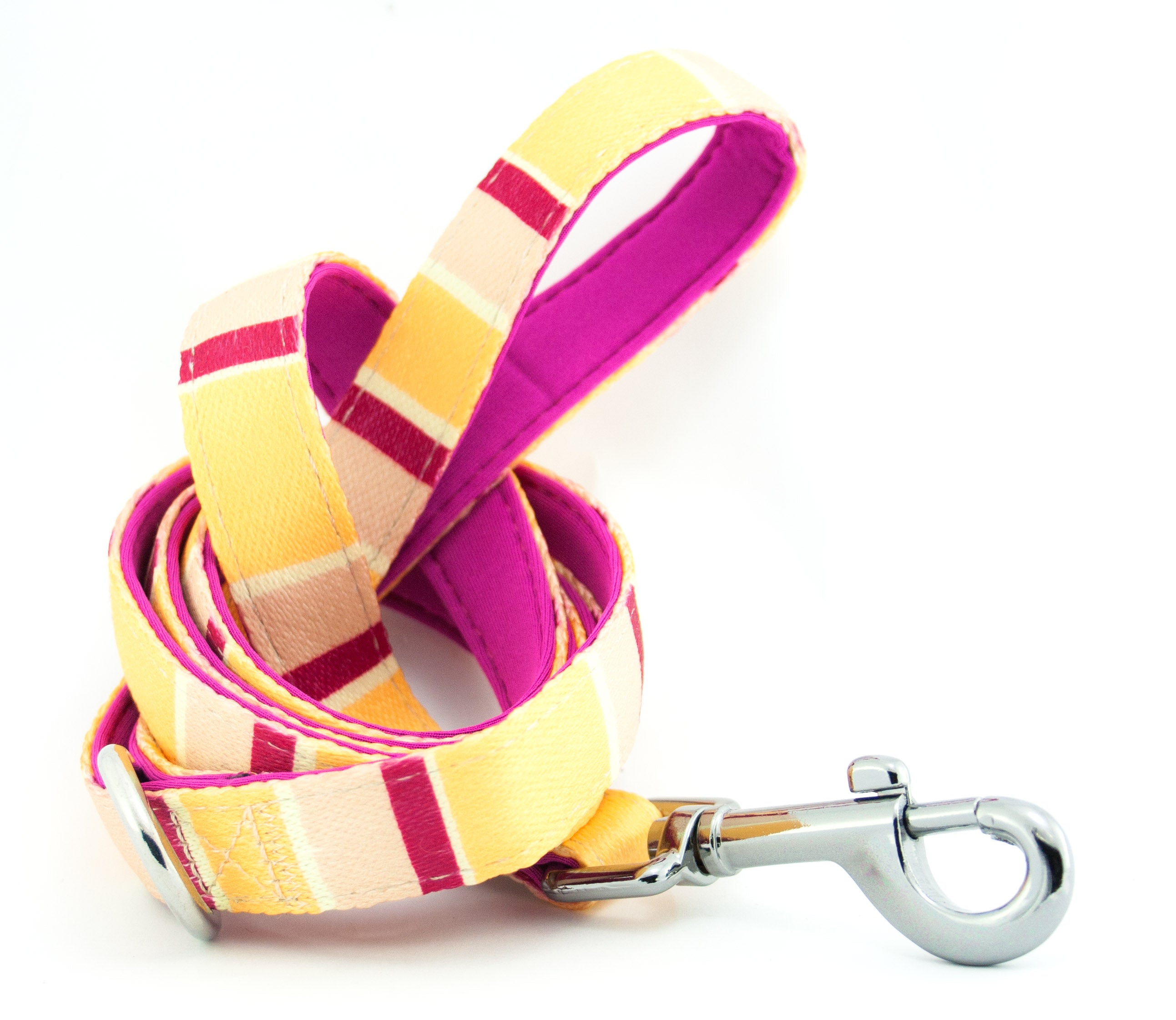 dog lead neoprene webbing yellow pink