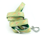 dog lead neoprene webbing green